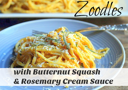Zoodles with Butternut Squash & Rosemary Cream Sauce (PALEO)